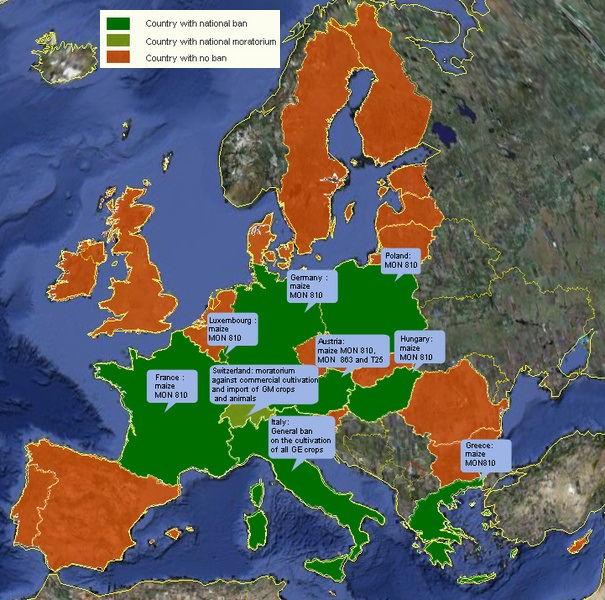 GE cultivation bans in Europe