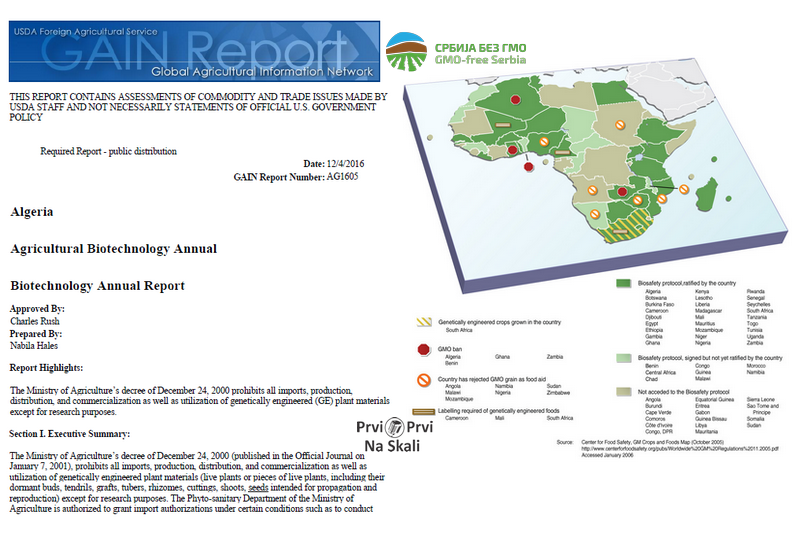 GAIN Report: Algeria - Agricultural Biotechnology Annual 2016.
