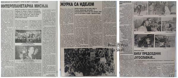 PRVI PRVI NA SKALI Koncert za mir - Sumarice, Kragujevac, 31. 8. 1991. kliping
